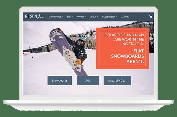 Gilson snowboards website screen shot